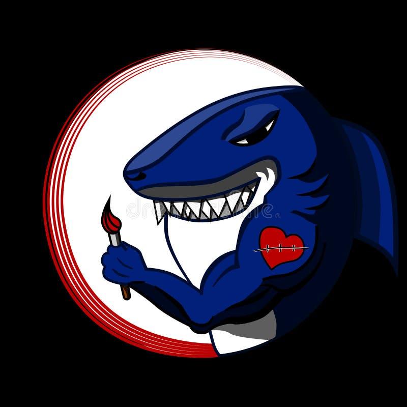 Sztuka rekin z skaleczeniem na ręce ilustracji