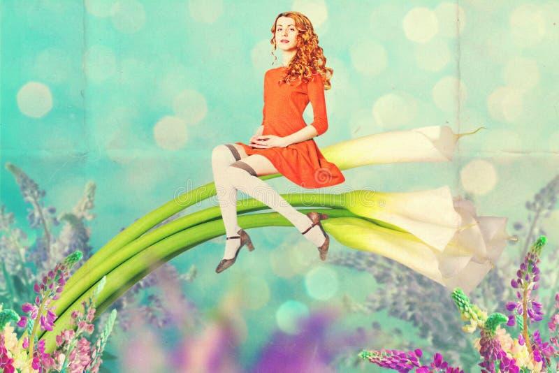 Sztuka rocznika kolaż z piękną kobietą royalty ilustracja