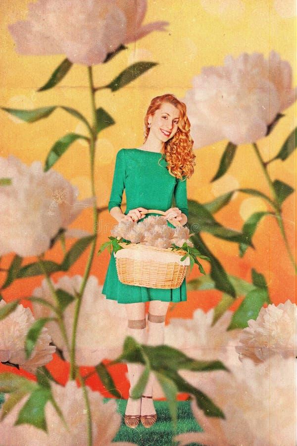 Sztuka rocznika kolaż z piękną kobietą zdjęcie royalty free