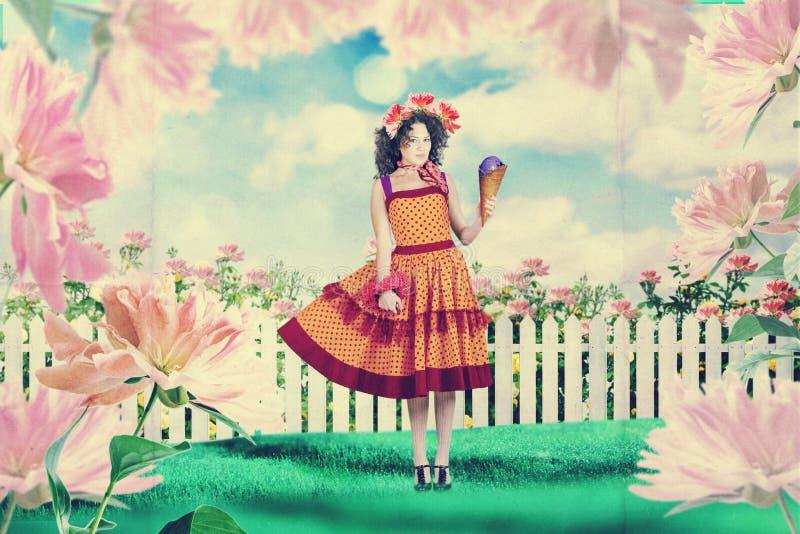 Sztuka rocznika kolaż z piękną kobietą, kreatywnie praca ilustracji