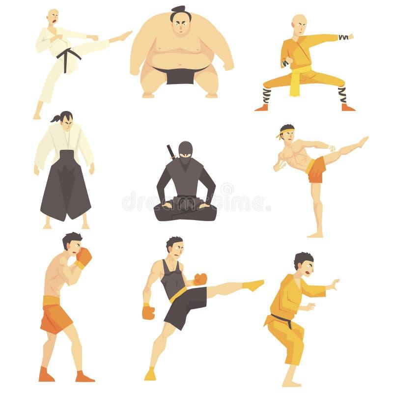 Sztuka Samoobrony wojownicy Wykonuje Różnych technik kopnięcia Ustawiających Azjatyccy Walczący sporty Fachowi W Tradycyjnym ilustracja wektor