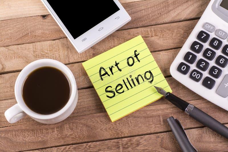 Sztuka sprzedawanie na notatce zdjęcia royalty free