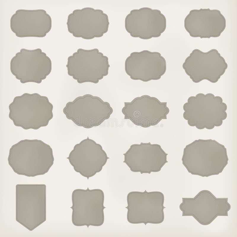 Sztuka ustawiająca wektorowa rocznik ramy etykietka szablon dla retro projekta Rzemienna tekstura wektor obrazy royalty free