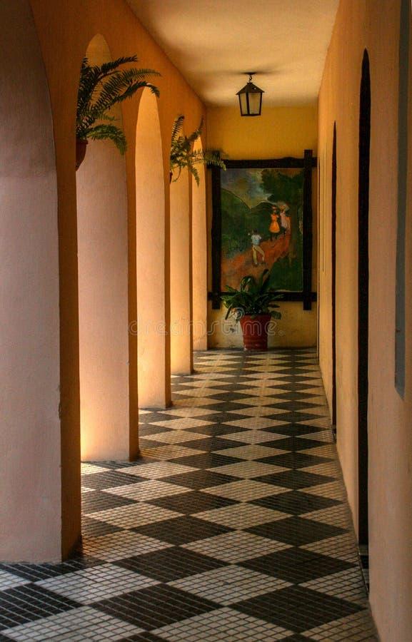 Sztuka w korytarzu wita goÅ›ci w Hotelu Du Roi Christophe obrazy royalty free