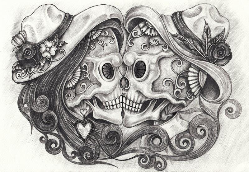 Sztuka W miłość czaszek dniu nieboszczyk ilustracji