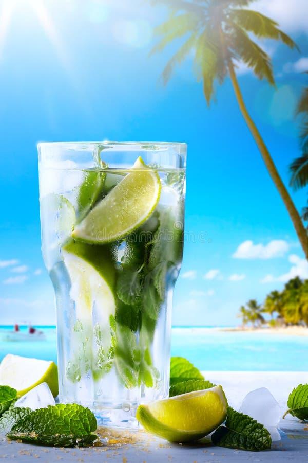 Sztuka wakacje; Egzotyczni zwrotnik plaży napoje fotografia stock