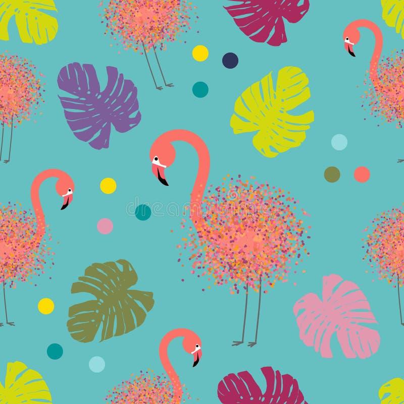 Sztuka współczesna kolażu flaming, bezszwowy wzór z tropikalnymi palma liśćmi i flamingi, rysuje kropki muśnięciem, wektor tropik royalty ilustracja