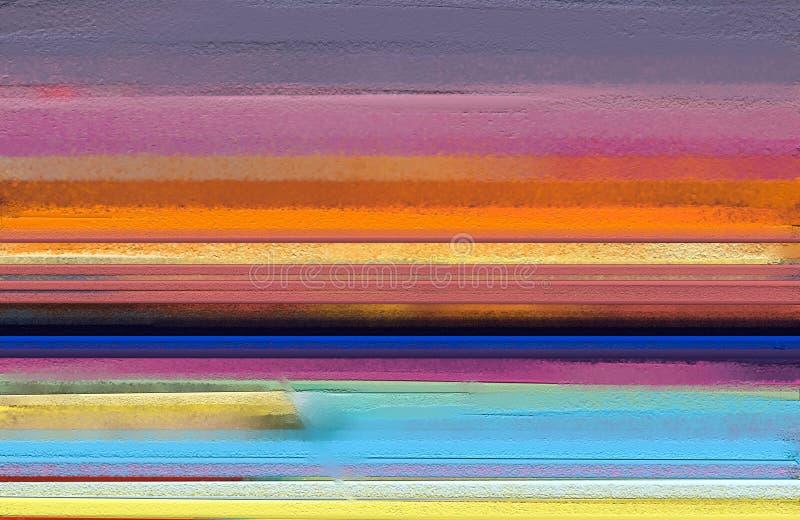 Sztuka współczesna obrazy olejni z kolorem żółtym, czerwony kolor Abstrakcjonistyczna dzisiejsza ustawa dla tła fotografia royalty free