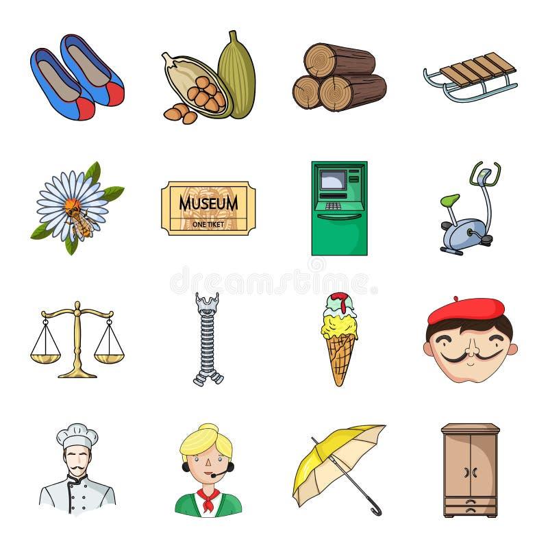 Sztuka, zawód, golf, sprawność fizyczna i inna sieci ikona w kreskówce, projektujemy Włochy, restauracyjne ikony w ustalonej kole ilustracja wektor