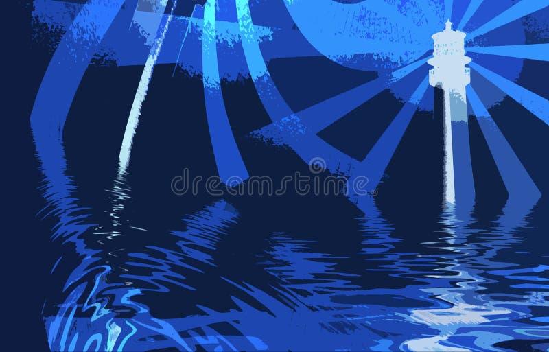 sztuki abstrakcjonistycznej latarni oceanu ilustracja wektor