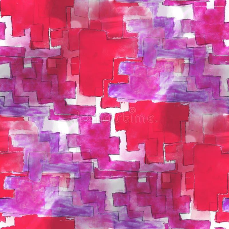 Sztuki awangardowa czerwień, purpurowa tło ręki farba royalty ilustracja
