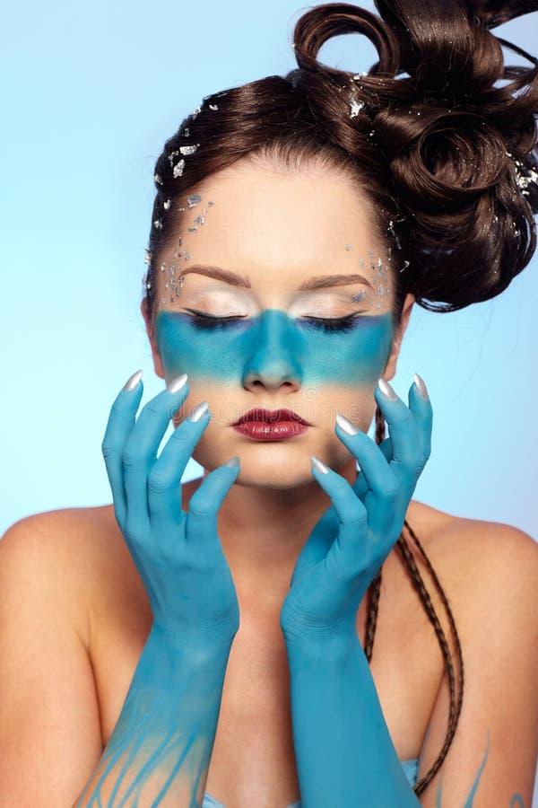 sztuki błękitny ciała fantazi dziewczyna s obrazy stock