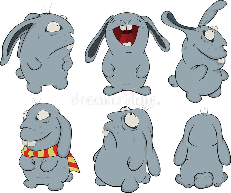 sztuki błękitny klamerki króliki ilustracja wektor