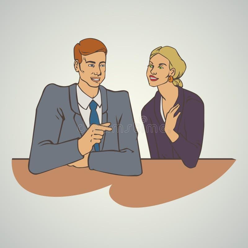 Sztuki biznesowa wektorowa ilustracja z mężczyzna opowiada kobiety royalty ilustracja