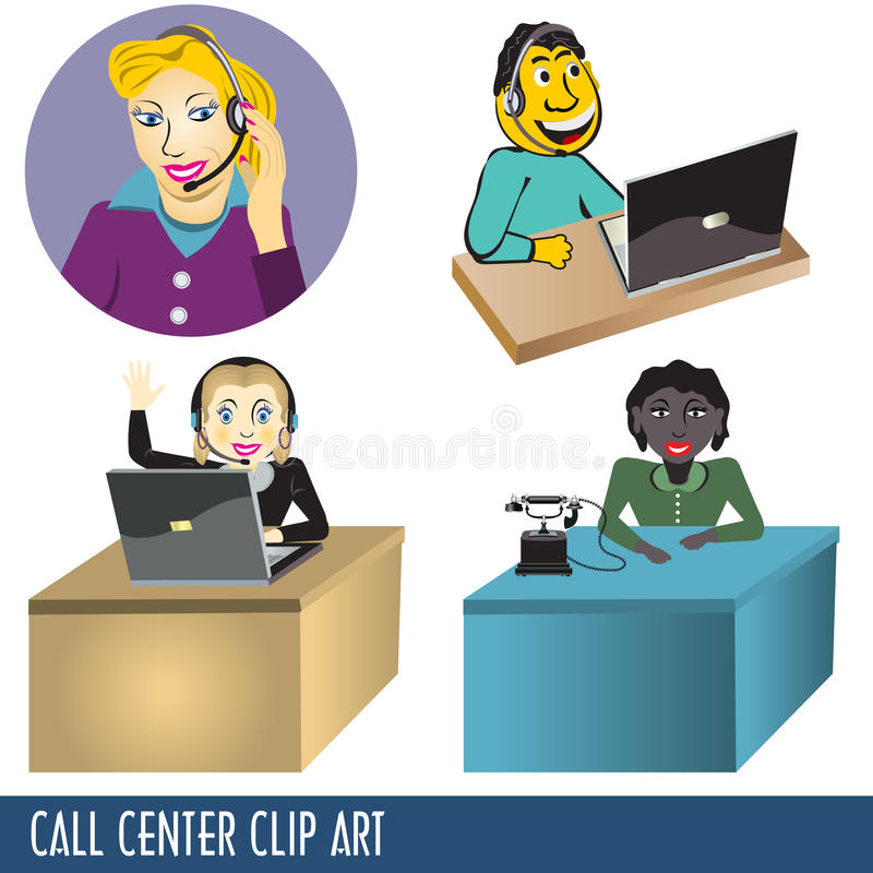 sztuki centrum telefonicznego klamerka ilustracja wektor