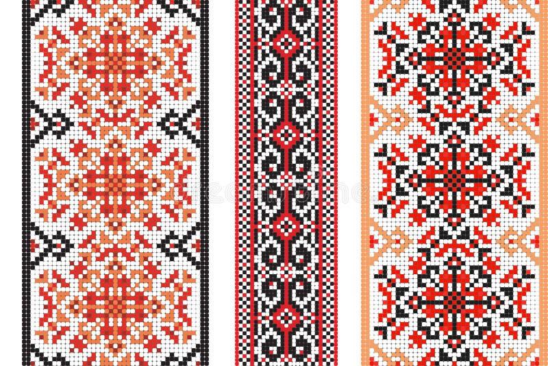 sztuki ceramiczny ludowy ornamentu garncarstwa ukrainian Set tradycyjni hafciarscy wzory struktura abstrakcyjna ilustracji