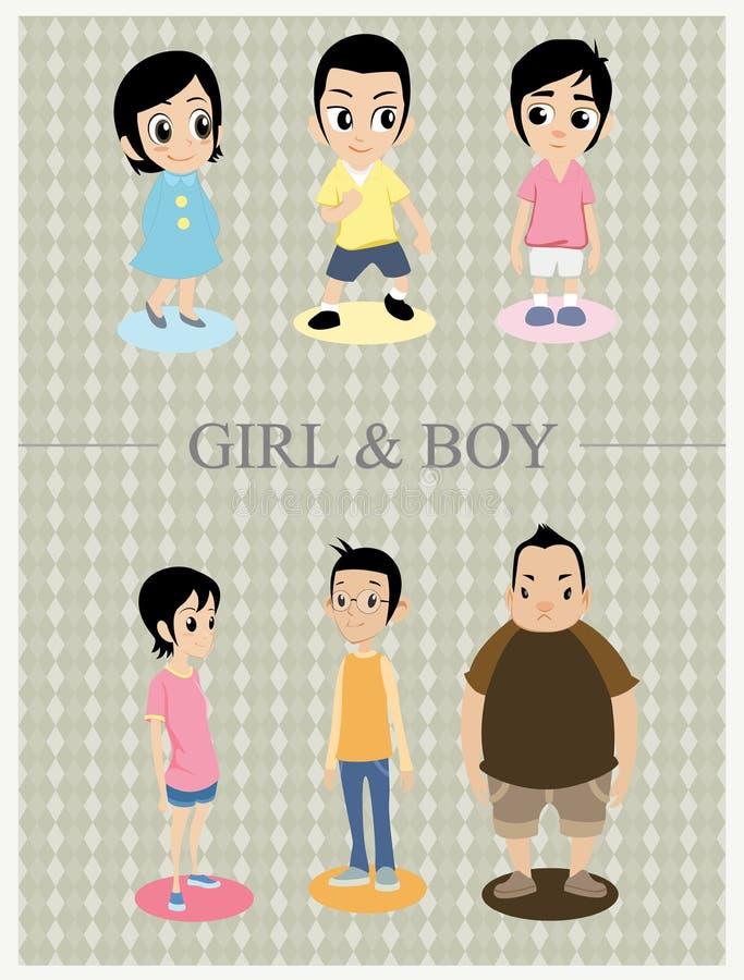 sztuki chłopiec klamerki dziewczyny obrazy stock