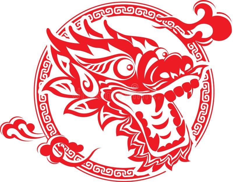 sztuki chińska smoka głowa ilustracja wektor