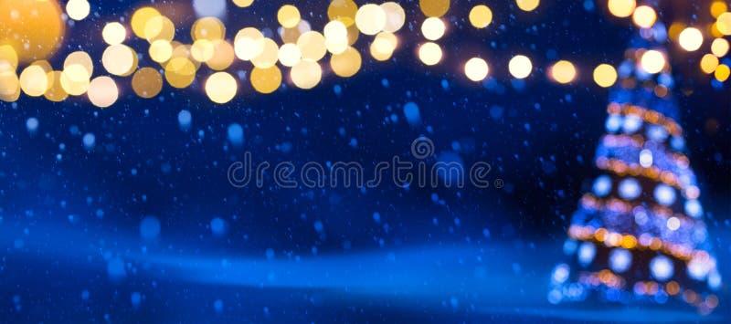 Sztuki choinki światła; Bożenarodzeniowy sztandaru tło zdjęcia royalty free