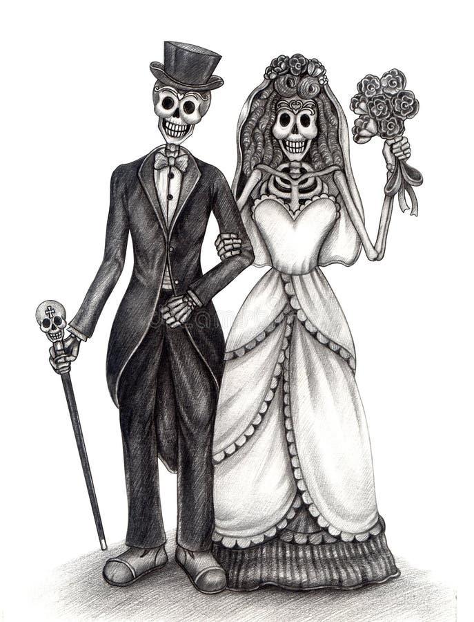 Sztuki czaszki dzień ślubu nieżywy festiwal ilustracji