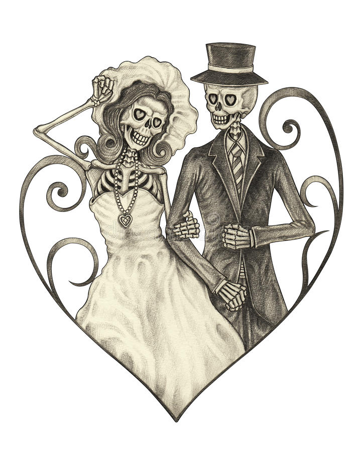 Sztuki czaszki dzień ślubu nieboszczyk royalty ilustracja