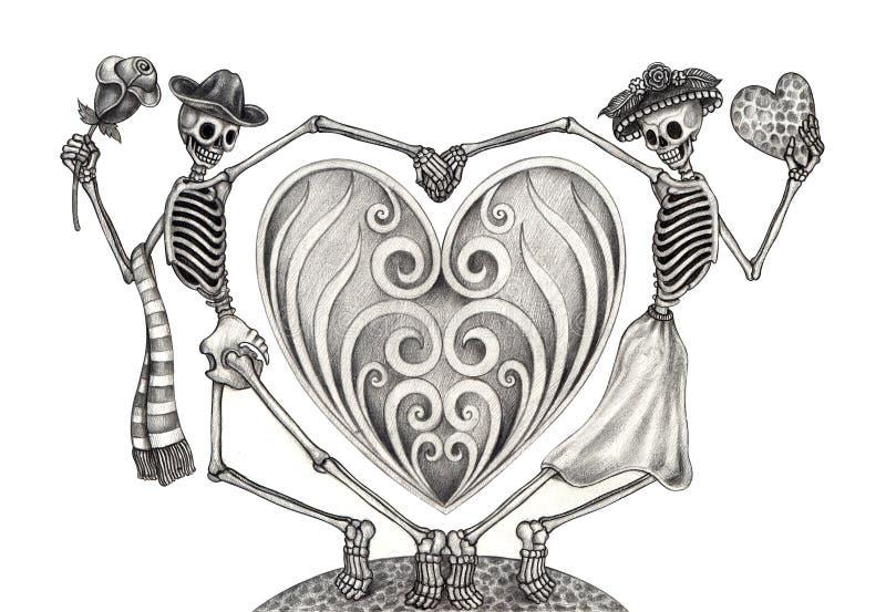 Sztuki czaszki dzień nieboszczyk royalty ilustracja