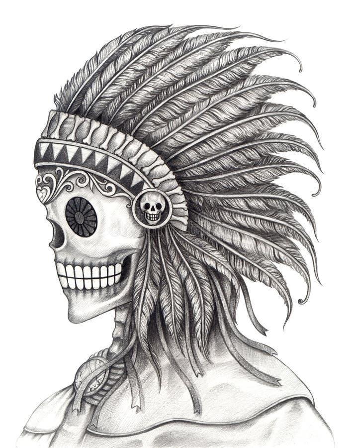 Sztuki czaszki Indiański dzień nieżywy festiwal ilustracji