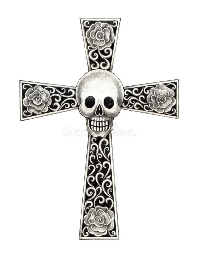 Sztuki czaszki krzyża tatuaż fotografia royalty free