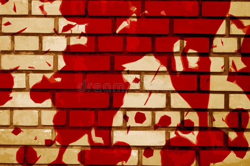 Sztuki czerwona krew na cement ścianie ilustracji