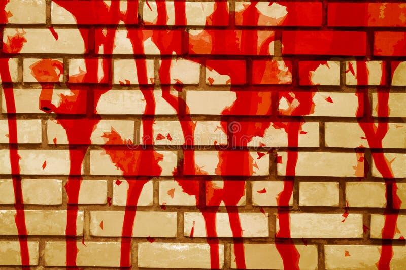 Sztuki czerwona krew na cement ściany tle ilustracji