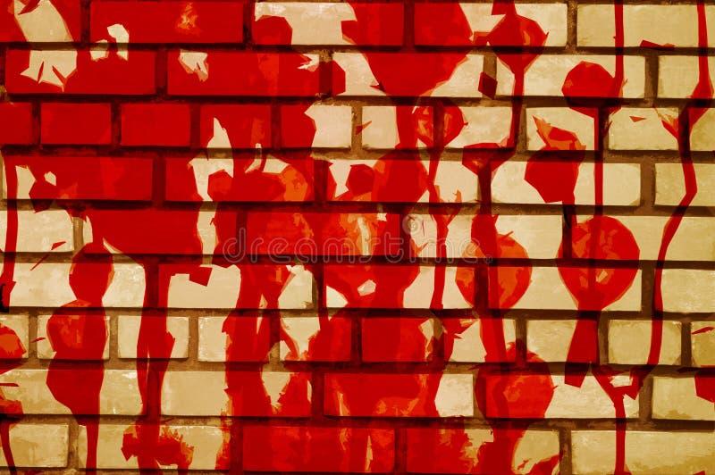 Sztuki czerwona krew na cement ściany tle royalty ilustracja