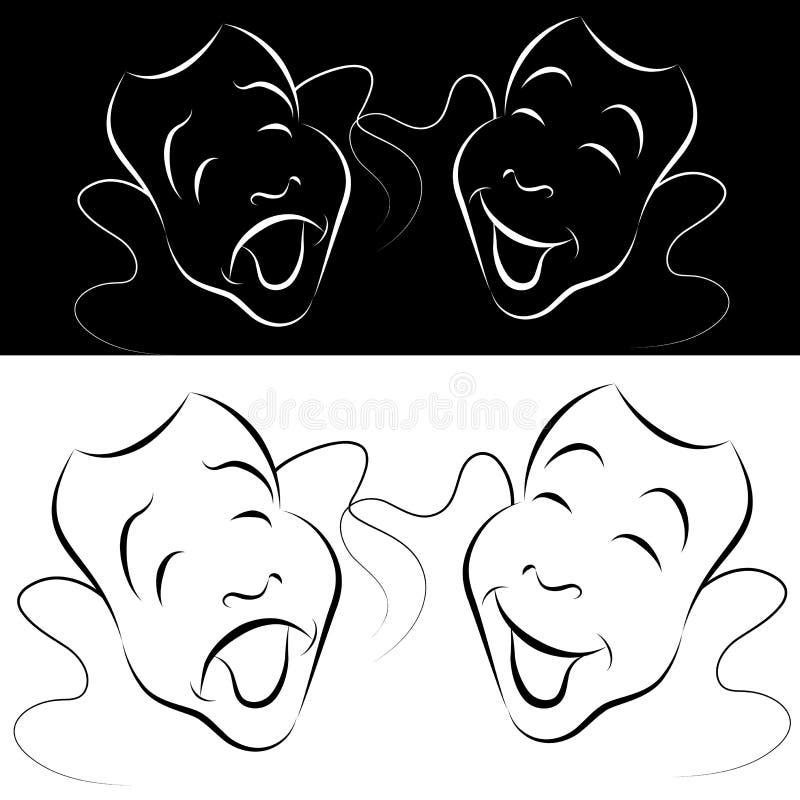 sztuki dramata linia maska set royalty ilustracja
