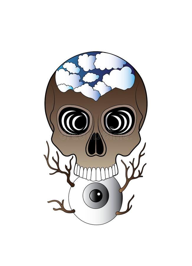 Sztuki fantazi czaszki Surrealistyczny tatua? ilustracji
