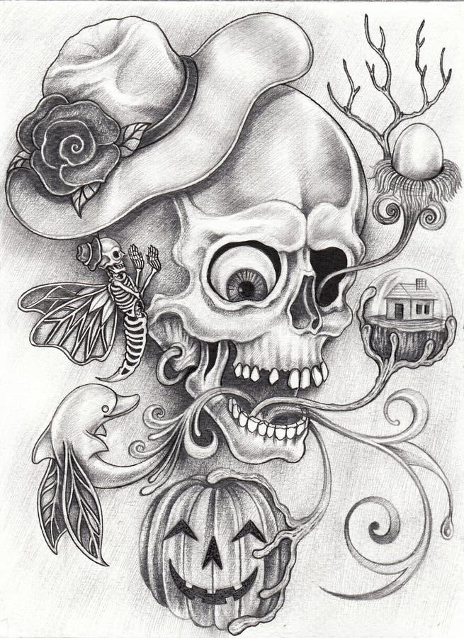 Sztuki fantazi Surrealistyczna czaszka ilustracja wektor