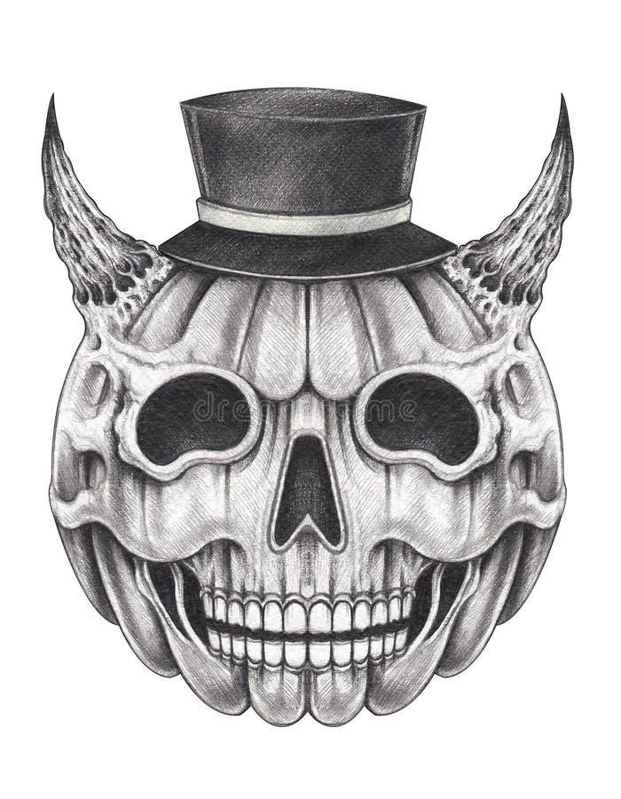 Sztuki fantazji czaszki Halloween Surrealistyczny Czarci Dyniowy dzień ilustracja wektor