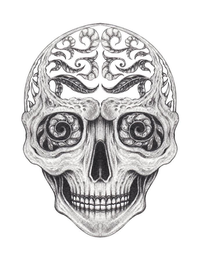 Sztuki fantazji czaszki Surrealistyczny tatuaż ilustracja wektor