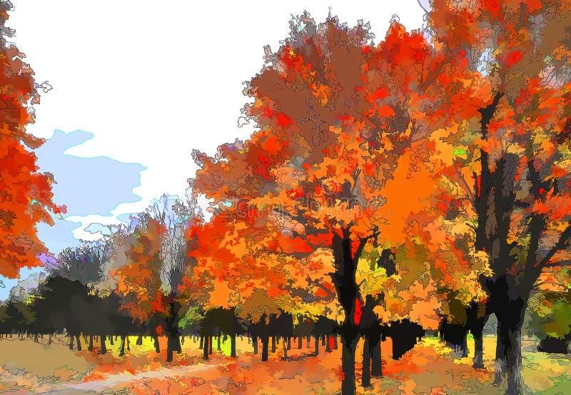Sztuki jesieni krajobraz jako obraz olejny grunge obraz royalty free