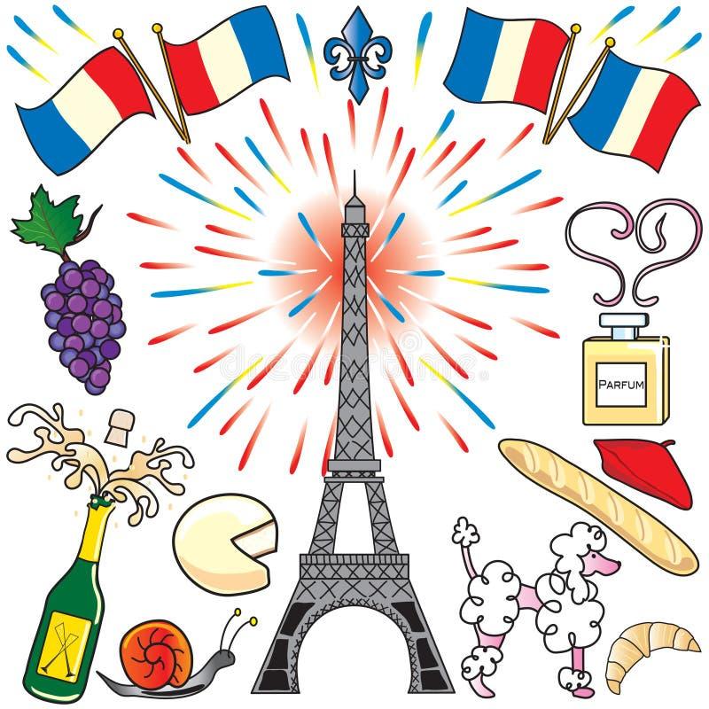 sztuki klamerki France Paris przyjęcie ilustracja wektor