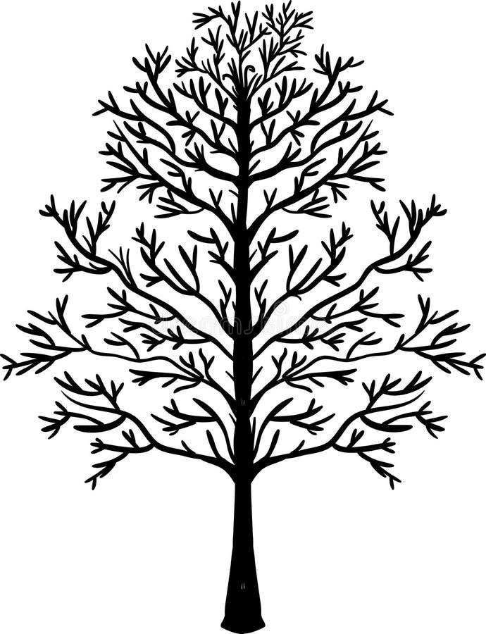 sztuki klamerki ilustraci zarysowany drzewo czarna sylwetka ilustracja wektor