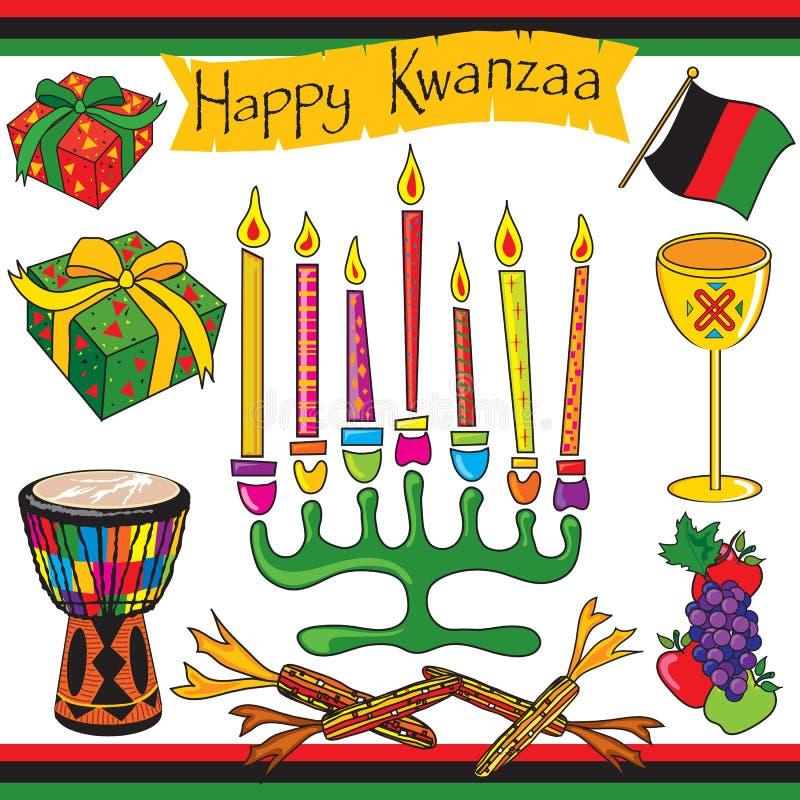 sztuki klamerki szczęśliwe ikony Kwanzaa ilustracja wektor