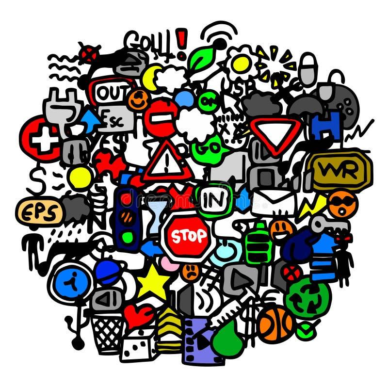 sztuki koloru znaków ruch drogowy royalty ilustracja