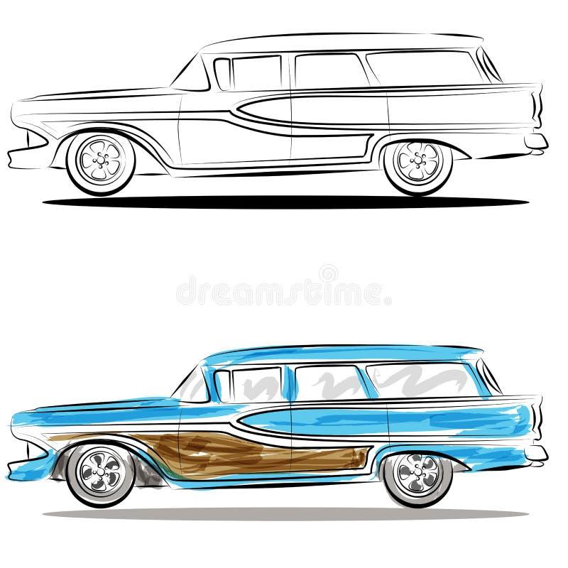 sztuki kreskowa stacyjnego furgonu akwarela ilustracja wektor
