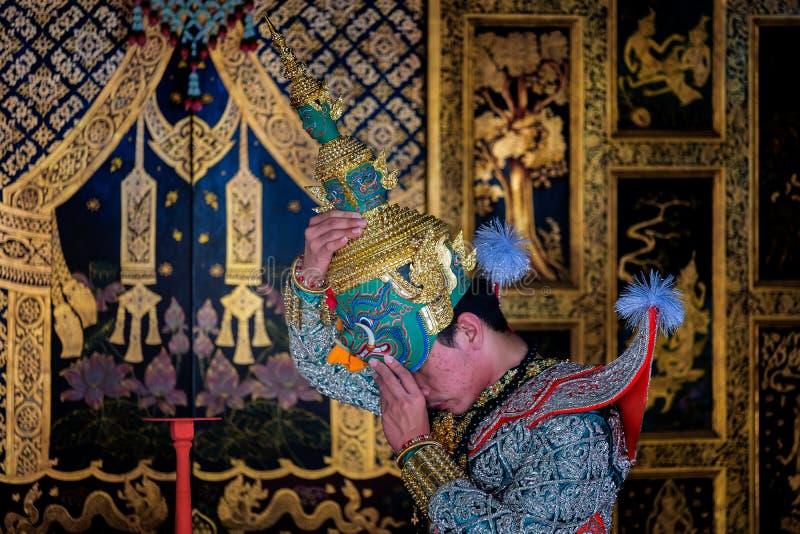 Sztuki kultury Tajlandia taniec w zamaskowanym khon w literatury ramayana, Tajlandzka klasyczna małpa maskująca, Khon, Tajlandia obraz royalty free