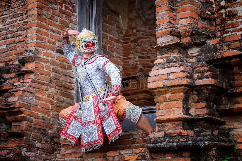 Sztuki kultury Tajlandia taniec w zamaskowanym khon w literatury ramayana, Tajlandzka klasyczna ma?pa maskuj?ca, Khon, Tajlandia obraz royalty free