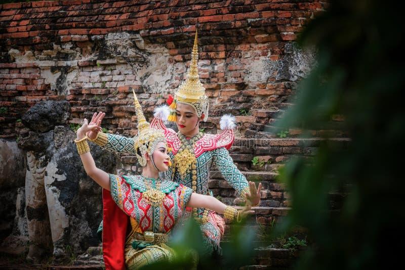 Sztuki kultury Tajlandia taniec w zamaskowanym khon w literatury ramayana, Tajlandzka klasyczna ma?pa maskuj?ca, Khon, Tajlandia obrazy royalty free