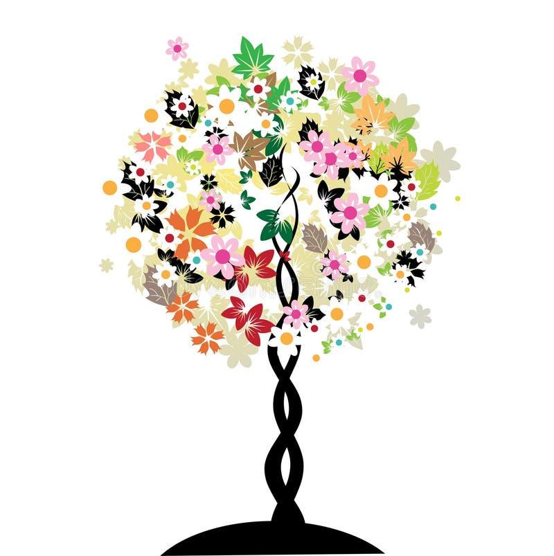 sztuki kwiecisty drzewo ilustracji