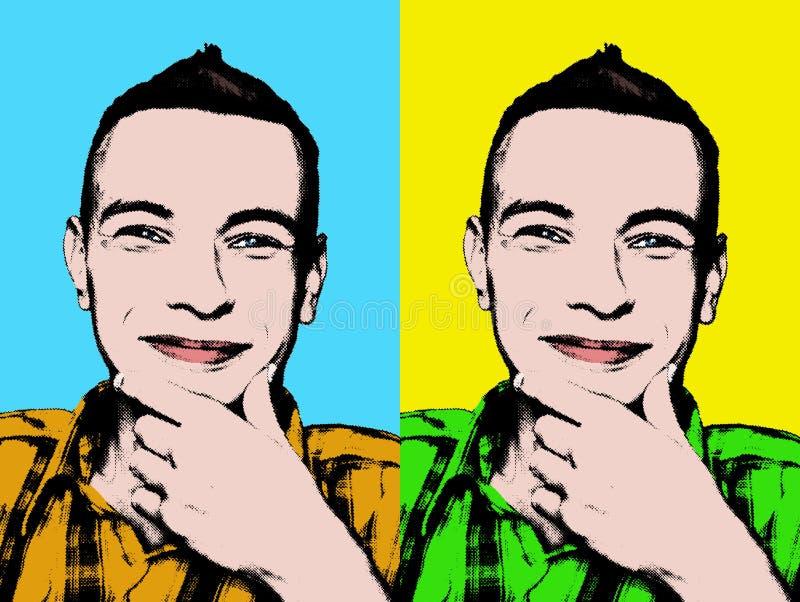 sztuki mężczyzna wystrzału portreta uśmiechnięci potomstwa ilustracji