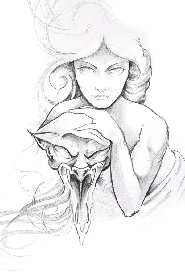 sztuki maski nakreślenia tatuażu kobieta ilustracji
