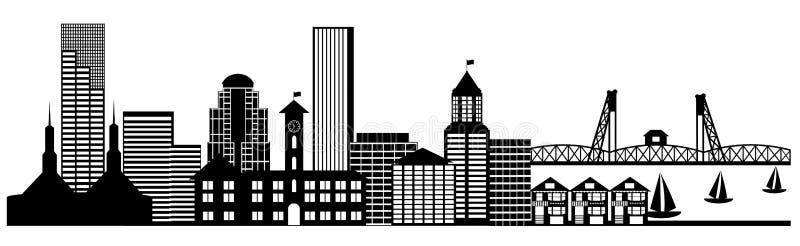 sztuki miasta klamerki panoramy Portland linia horyzontu royalty ilustracja