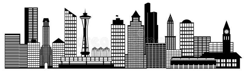sztuki miasta klamerki panoramy Seattle linia horyzontu ilustracja wektor